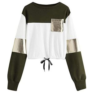 JJLIKER Women Fashion Patchwork Pullover with Pocket Easy Bow Knot Bandage Tops Tunic