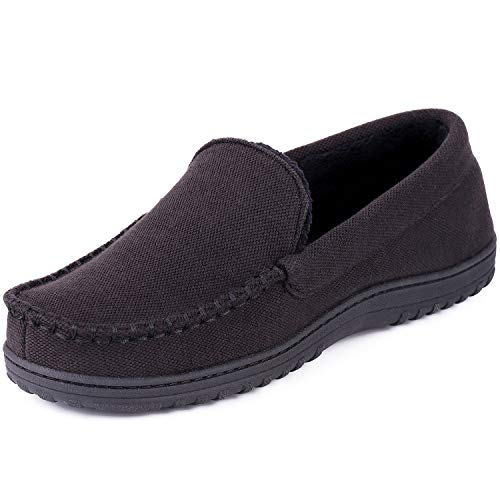 Men's Moccasin Slippers Anti-Slip House Shoes, Indoor Outdoor Rubber Sole Loafers (12 D(M) US, Black)