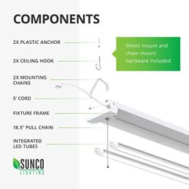Sunco-Lighting-10-Pack-LED-Utility-Shop-Light-4-FT-Linkable-Integrated-Fixture-40W260W-5000K-Daylight-4500-LM-Clear-Lens-SurfaceSuspension-Mount-Pull-Chain-Garage--ETL-Energy-Star