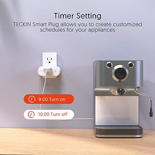 Smart Plugs That Work with Alexa, TECKIN 15A Alexa Smart Plugs with Remote Control, Schedule and Timer Function, FCC ETL Certification, No hub Require, 4 Pack 17