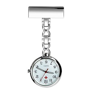 WIOR Nurses Lapel Pin Watch Hanging Medical Doctor Pocket Watch Quartz Movement Nurses Watch for Xmas Birthday Mothers Day Gift (Silver)