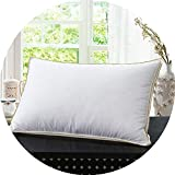 Little Happiness- Brand Design White Goose Feather Neck Health Care Bedding Pillow 100% Cotton Shell Allow The Feather to Breathe 008,Gold Line,65X65CM