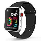 iDon Smart Watch Sport Band, Soft Silicone Replacement Sports Band compatible for Apple Watch Band 38mm 2017 Series 3 Series 2 Series 1 All Models(S/M, Black)