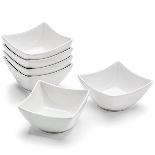 Small Porcelain Serving Bowls 6.5-Ounce - Set of 6 - For Ceviche, Appetizers, Snacks, Tapas, Salsas, Dips - White Juanita