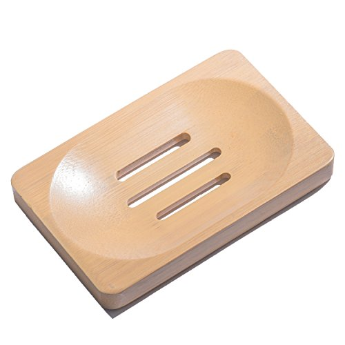 Aira Bamboo Soap Dish. Soap Holder for Shower, Counter, Sink, & Bathroom. Soap Lift & Soap Saver (Medium, Frost)