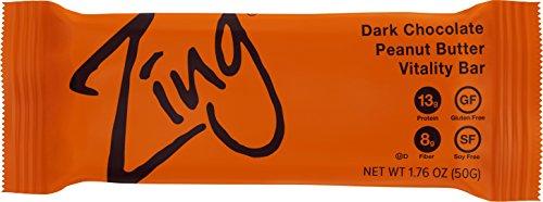 Zing Vital Energy Nutrition Bar, Dark Chocolate Peanut Butter, (12 Bars), High Protein, High Fiber, Real Dark Chocolate