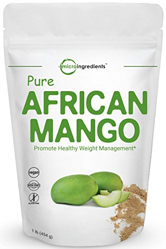 Maximum Strength Pure African Mango Extract Powder (Irvingia Gabonensis, Wild Mango), 1 Pound, Powerfully Promotes Weight Loss, Reduces Body Fat, Cholesterol and Leptin. Non-GMO and Vegan Friendly.
