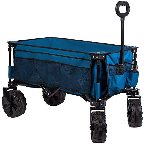 Timber Ridge Folding Camping Wagon Cart Collapsible Sturdy Steel Frame Garden Beach Large Size Heavy Duty