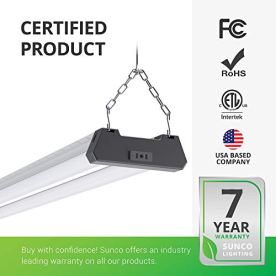 Sunco-Lighting-12-Pack-Industrial-LED-Shop-Light-4-FT-Linkable-Integrated-T8-Fixture-40W260W-6000K-Daylight-Deluxe-4000-LM-Surface-Suspension-Mount-Pull-Chain-Garage-Light-Energy-Star