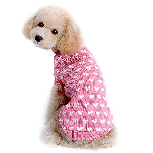 Stock Show Puppy Dog Cat Knitted Sweater Pet Sweet Lovely with White Hearts Design Dog Cat Sweater Breathable Soft Crochet Knit Sweater Sweatershirt Pullover Jumper for Pets Winter Keep Warm, Pink