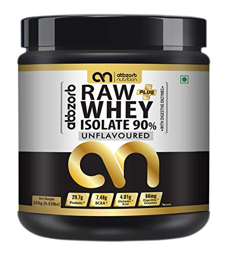 Abbzorb Nutrition Beginners Raw+ Whey Isolate 90% 29.7g Protein | 7.4g BCAA with Digestive Enzymes 250g -Trial Pack