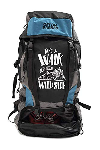 41YB2LCuq1L - Mufubu Presents Get Unbarred 55 LTR Rucksack for Trekking, Hiking with Shoe Compartment (Black/Blue)