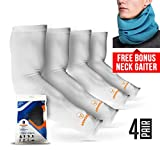 SPARTAN-X Arm Sleeves for Men or Women - Compression Warmers to Cover Tattoo - For Basketball Golf Running Football Cycling or Sun Protection (White 4 Pair)