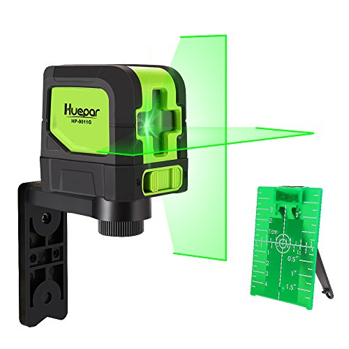 Huepar 9011G Cross Line Laser - DIY Self-Leveling Green Beam Horizontal and Vertical Line Laser Level with 100 Ft Visibility, Bright Laser with Magnetic Pivoting Base