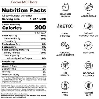 MCTBar Cocoa Keto Protein Bar | 0g Added Sugar, 2-3g Net Carbs, 10g Protein, 7g Fiber | Grass Fed Collagen (24 Pack) 5