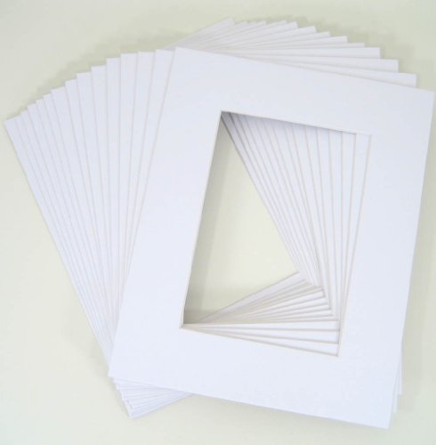 Pack of 25 11×14 WHITE Picture Mats Mattes with White Core Bevel Cut for 8×10 Photo + Backing + Bags