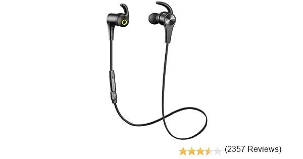 SoundPEATS - Auriculares inalámbricos Bluetooth 4.1 magnéticos a prueba de sudor estéreo Bluetooth para deportes con micrófono (8 horas de tiempo de reproducción, ajuste seguro, cancelación de ruido), color negro