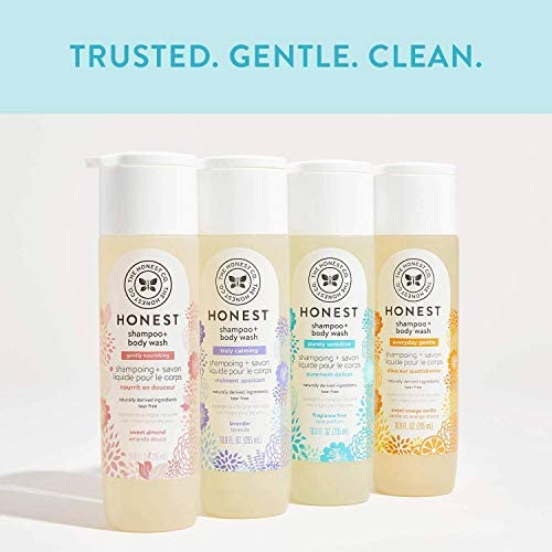 The Honest Company Truly Calming Lavender Shampoo + Body Wash, Tear Free Baby Shampoo + Body Wash, Naturally Derived Ingredients, Sulfate & Paraben Free Baby Wash, 10 Fl Oz