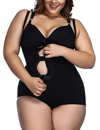FeelinGirl Women's Plus Size Firm Control Shapewear Open Bust Bodysuit Body Shaper