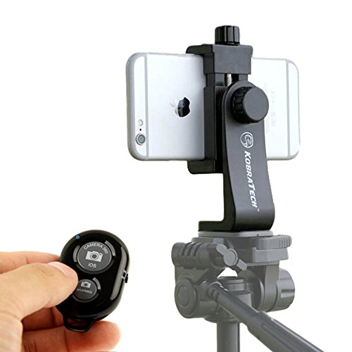 KobraTech Cell Phone Tripod Adapter – UniMount 360 – Universal Phone Tripod Mount Attachment for Any Size Smartphone – Includes Bonus Bluetooth Shutter Remote