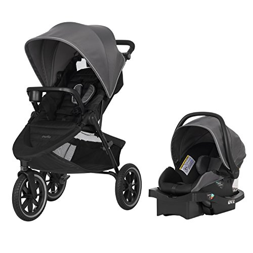 Evenflo Folio3 Stroll & Jog Travel System w/LiteMax 35 Infant Car Seat, Crossover Versatility, Ultra-Compact, Self-Standing Folding Design, 12' Air-Filled Tires, Front Wheel Swivel Lock, Avenue Gray