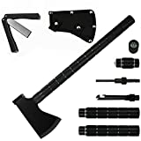 Camping Axe Multi-tool Kit Survival Portable Folding Collapsible Camp Ax Hatchet Tomahawk Tactical with Sheath Hammer for Hiking Backpacking Hunting Outdoor Adventures (16-Inch with Sharpener)