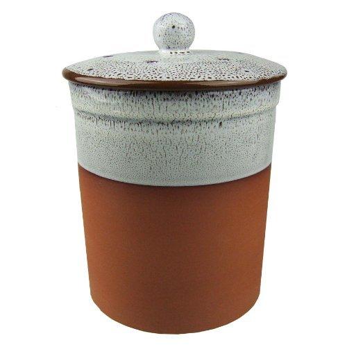 Terracotta Ceramic Kitchen Compost Caddy (Oyster white colour ...