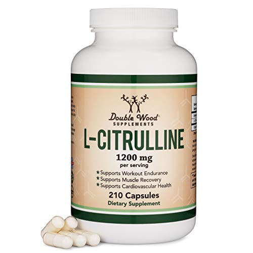 L Citrulline Capsules 1,200mg Per Serving, 210 Count (L-Citrulline Increases Levels of L-Arginine and Nitric Oxide) Muscle Recovery Supplement - Improve Muscle Pump by Double Wood Supplements