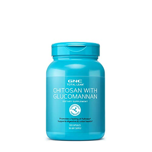 GNC Total Lean Chitosan with Glucomannan, 120 Capsules, Supports Digestive and Colon Health
