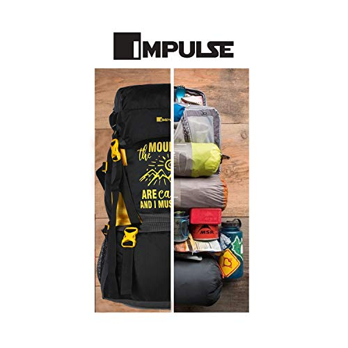 41Ycy9EY1dL - Impulse Waterproof Travelling Trekking Hiking Camping Bag Backpack Series Mt. Calling 68.6 cms Yellow Rucksack