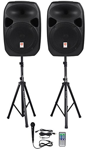 Rockville RPG122K Dual 12' Powered Speakers, Bluetooth+Mic+Speaker Stands+Cables