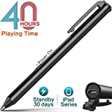 Heiyo Active Stylus Pens Supporting 40 hrs Playing Time 30-Day Standby 120-second Auto Power Off with 3 Replaceable Rubber Tips Compatible with iPad Series