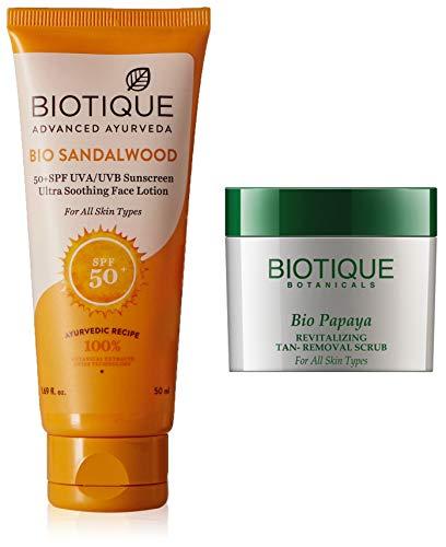41YkZWzE2qL - Biotique Bio Sandalwood Sunscreen Ultra Soothing Face Lotion, SPF 50+, 50ml And Biotique Bio Papaya Revitalizing Tan Removal Scrub, 75g