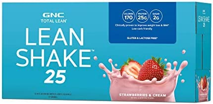 GNC Total Lean Lean Shake 25 to Go Bottles - Strawberries and Cream, 12 Pack, Low-Carb Protein Shake to Improve Weight Loss 1