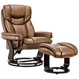 JC Home 70786-1 Contemporary Palomino Leather Recliner and Ottoman with Swiveling Mahogany Wood Base