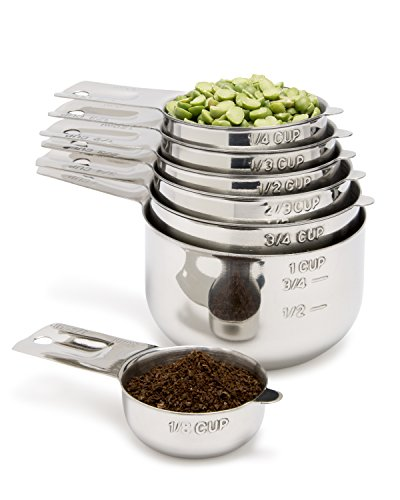 Measuring Cups 7 Piece with 1/8 Cup Coffee Scoop by Simply Gourmet. Stainless Steel Measuring Cup Set. Liquid Measuring Cup or Dry Measuring Cup. Stainless Measuring Cups with Nesting Cups Feature
