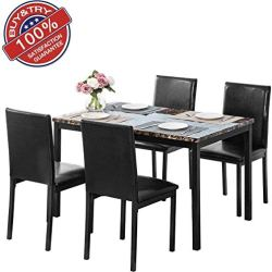 Recaceik Kitchen Table Set, Dining Chairs, Modern Faux Marble Dining Table for 4 (Black)
