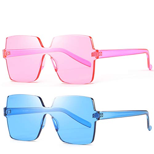 61e9ba092f9 Oversized Square Candy Colors Transparent Lens Rimless Frame Unisex ...