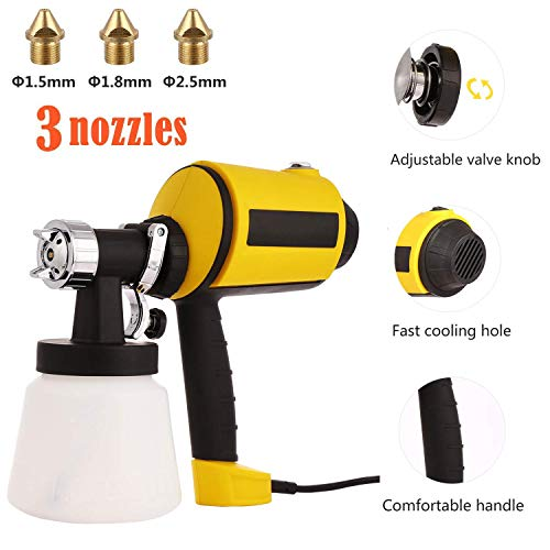 Advanced Electric Spray Gun Paint Sprayer with 3 Spray Patterns, 3 Nozzle Sizes, Adjustable Valve Knob, and Easy Filling Detachable Container