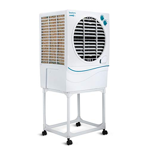 Symphony Jumbo 41 Desert Air Cooler 41-litres with Trolley, Powerful Fan, Whisper-Quiet Performance, 3-Side Cooling Pads & Low Power Consumption (White)