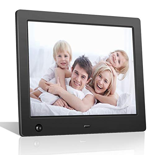 Digital Picture Frame 8 inch Electronic Photo Frame with Motion Sensor and High Resolution 1024×768 IPS LCD/1080P 720P Video Player/Stereo/MP3/Calendar/Time/Remote Control