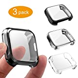 3 Packs Screen Protector Compatible Fitbit Versa, GHIJKL Ultra Slim Soft Full Cover Case for Fitbit Versa