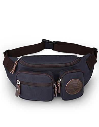 c6ae4326f71b Muzee Mens Canvas Waist Pack Running Sling Backpack Crossbody Bag Fanny  Packs - Travel
