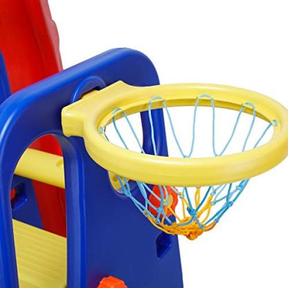 Webby-Foldable-Wavy-Garden-Slide-with-Adjustable-Height-Basketball-Ring-for-Kids
