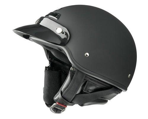 Raider 26-617-15 Deluxe Motorcycle Half Helmet with Visor (Flat Black, Large)