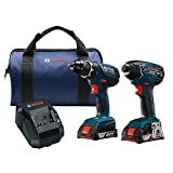 Bosch Power Tools Drill Set - CLPK232A-181 – Two Cordless Drills Tool Kit– Includes Compact Drill, Hex Impact Driver, Lithium Batteries, 18V Charger, Contractor Bag For Professional Use, HVAC