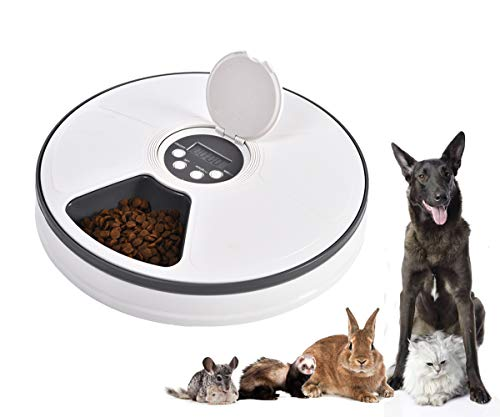 Mingzheng Automatic Pet Feeder with Timer for Cats and Dogs, Suits Dry or Semi Food for Kitten & Puppy, Portion Control, Dishwasher-Safe 2.2 oz x 6-Meal