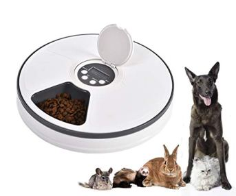 Mingzheng-PF6-Automatic-Pet-Feeder-with-Timer-for-Cats-Dogs-Suits-Dry-or-SEMI-Food-for-Kitten-Puppy-Portion-Control-Dishwasher-Safe-2oz-x-6-Meal-White