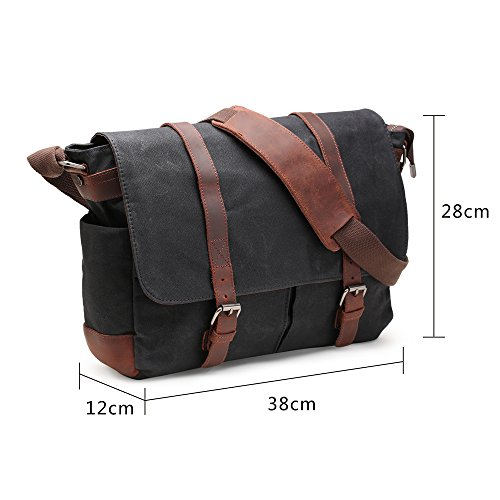 Well known H-ANDYBAG Canvas Messenger Bag 15 Inch Shoulder Laptop Bag Waxed  QT68