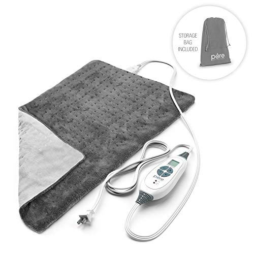 Pure Enrichment PureRelief XL King Size Heating Pad (Charcoal Gray) - Fast-Heating...